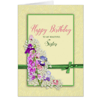 BIRTHDAY - SISTER,  GREEN BOW CARD