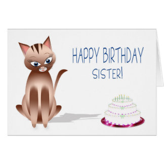 BIRTHDAY - Sister - Kitty Cat - Cake Card