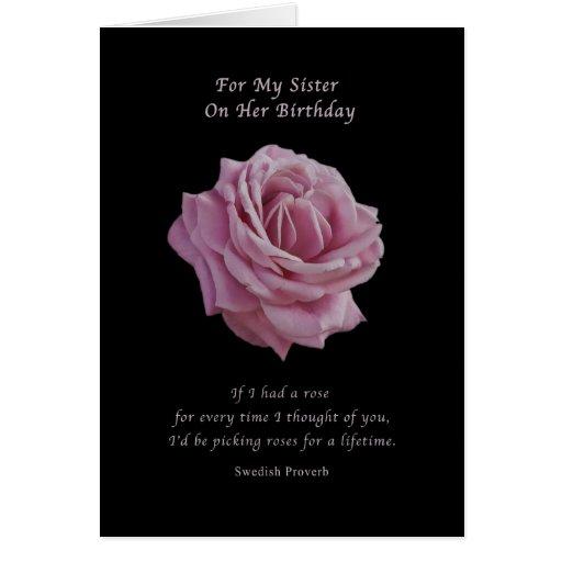 Birthday, Sister, Pink Rose on Black Greeting Card