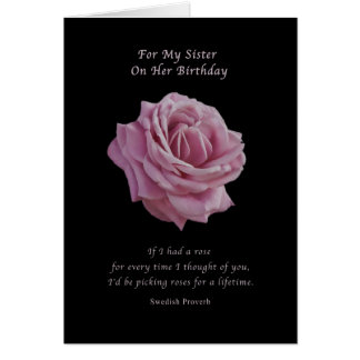 Birthday Sister Pink Rose on Black Greeting Card
