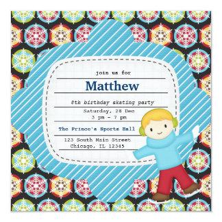 "Birthday Skating (Boy) 5.25"" Square Invitation Card"