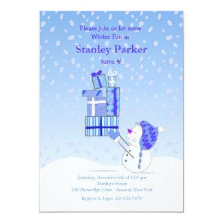 Birthday Snowman Blue Invitation