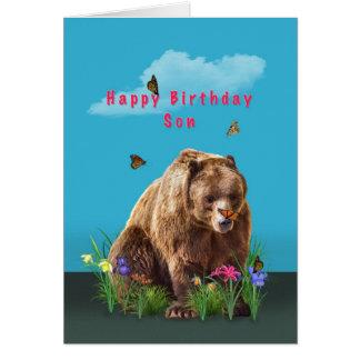 Birthday, Son,  Bear and Butterflies Card
