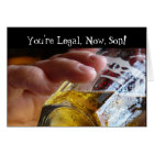 Birthday, son, legal, 21. Beer in  glass. Card