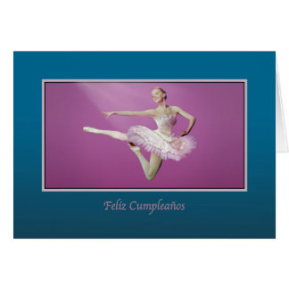Birthday, Spanish, Leaping Ballerina Greeting Cards