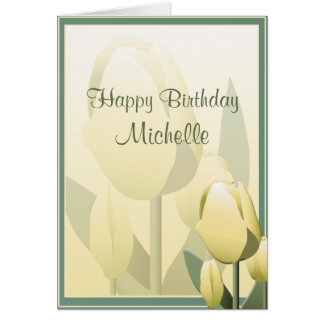 Birthday Spring Tulips Yellow Happy Birthday Card