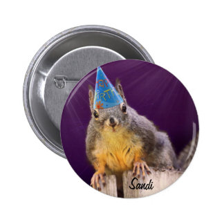 Birthday Squirrel Photo 2 Inch Round Button