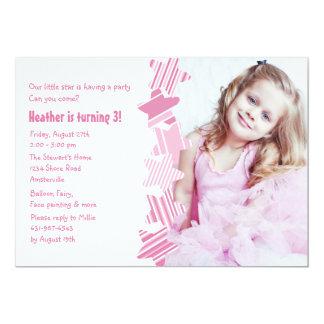Birthday Star Pink Photo Invitation