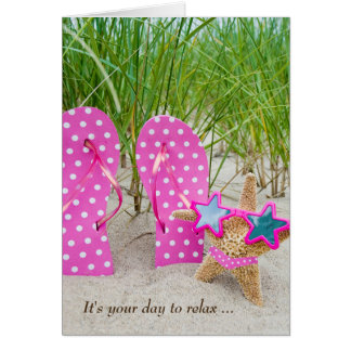 birthday starfish and flip-flops in sand card