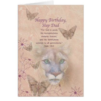 Birthday, Step Dad, Cougar and Butterflies Card