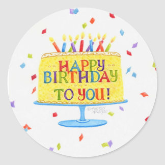 Birthday Stickers Happy Birthday To You Cake