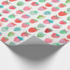 Birthday Strawberry Fruit   Glossy Wrapping Paper