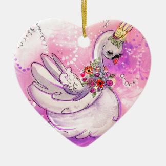 Birthday Swan Watercolor Ceramic Ornament