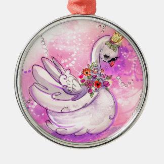 Birthday Swan Watercolor Metal Ornament