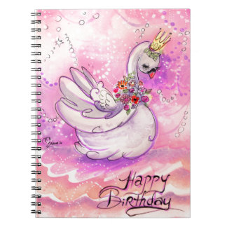 Birthday Swan Watercolor Notebook