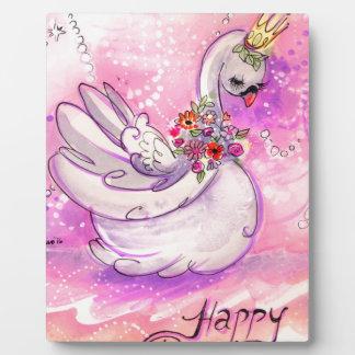 Birthday Swan Watercolor Plaque