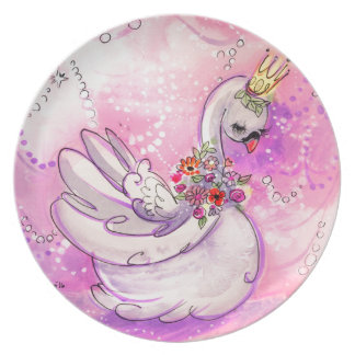 Birthday Swan Watercolor Plate