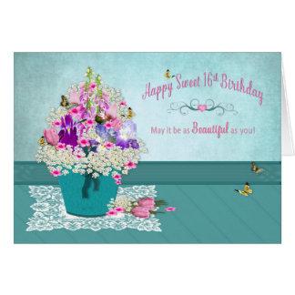 Birthday - Sweet 16th -Bucket of Flowers Card