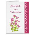 Birthday, Sweet Peas, Garden Flowers German Greeting Card