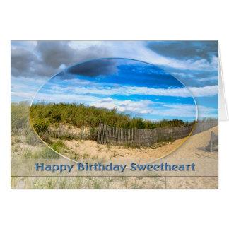 BIRTHDAY- SWEETHEART- BEACH/OCEAN/DUNES/SCENE CARD