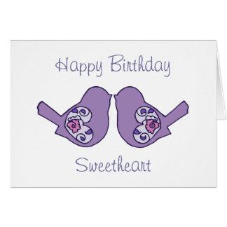 Birthday Sweetheart Love Birds Purple Romantic Card