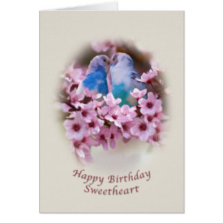 Birthday, Sweetheart, Loving Parakeets Card