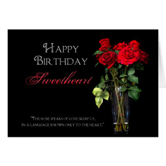 Birthday - Sweetheart - Red Roses Card