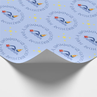 Birthday swimmer custom text blue wrapping paper
