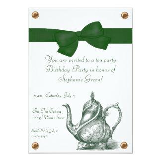 "Birthday Tea Party Invitation 5"" X 7"" Invitation Card"