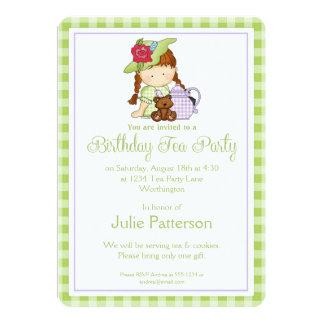 Birthday Tea Party Invitation Little Girl Green