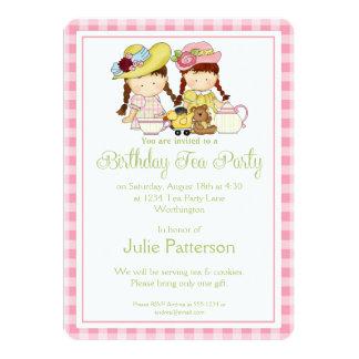 Birthday Tea Party Invitation Little Girls Pink 2