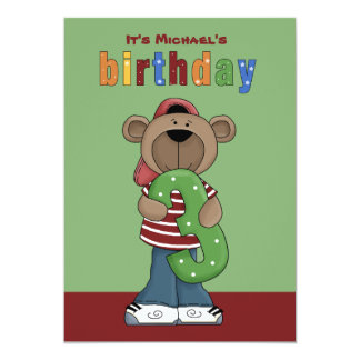 "Birthday Teddy 3 Year Old - Photo Birthday Party I 5"" X 7"" Invitation Card"