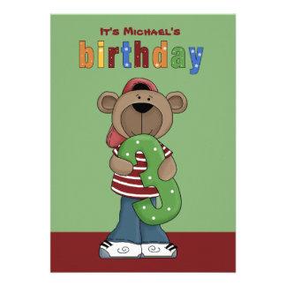 Birthday Teddy 3 Year Old - Photo Birthday Party I Personalized Invites