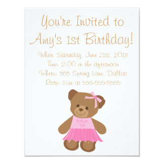 Birthday Teddy Bear With Pink Tutu Card