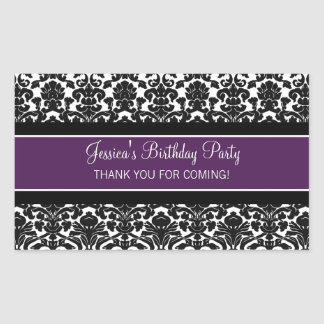 Birthday Thank You Custom Name Favor Tags Purple