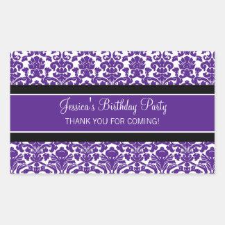 Birthday Thank You Custom Name Favor Tags Purple
