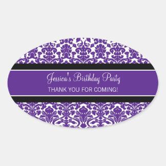 Birthday Thank You Custom Name Favor Tags Purple Oval Sticker