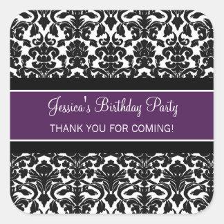 Birthday Thank You Custom Name Favor Tags Purple Square Sticker