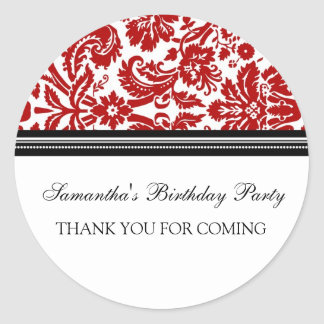 Birthday Thank You Custom Name Favor Tags Red Round Sticker