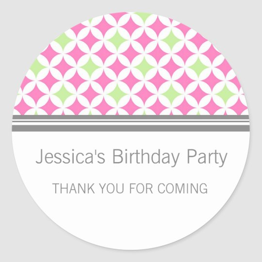 Birthday Thank You Custom Name Favour Tags Pink
