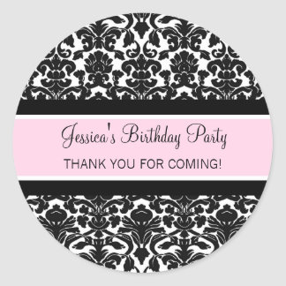 Birthday Thank You Custom Name Favour Tags Pink Stickers