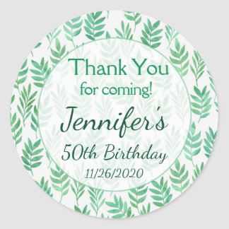 Birthday Thank You Favor Tags Green Nature Plant Round Sticker