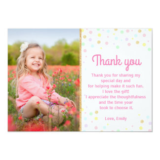 Birthday Thank You Photo Card Pink Gold Confetti