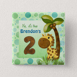 Birthday Tots Giraffe Birthday 2 Inch Square Button