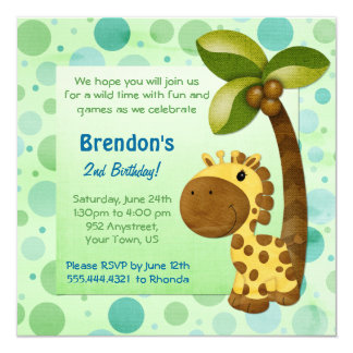 Birthday Tots Giraffe - Second Birthday Card