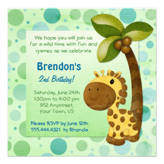 Birthday Tots Giraffe - Second Birthday Custom Invite
