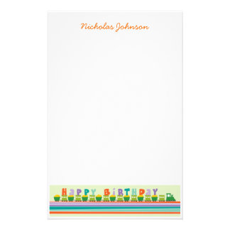 Birthday Train Kid Personal / Thank You Stationery