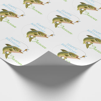 Birthday Trout & Fly Personalized Wrapping Paper