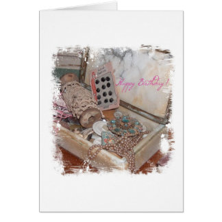 Birthday Vintage Jewerly and Buttons Card