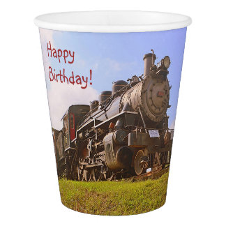 Birthday Vintage Steam Train Paper Cup